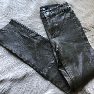 New Paige leather olive green pants 23
